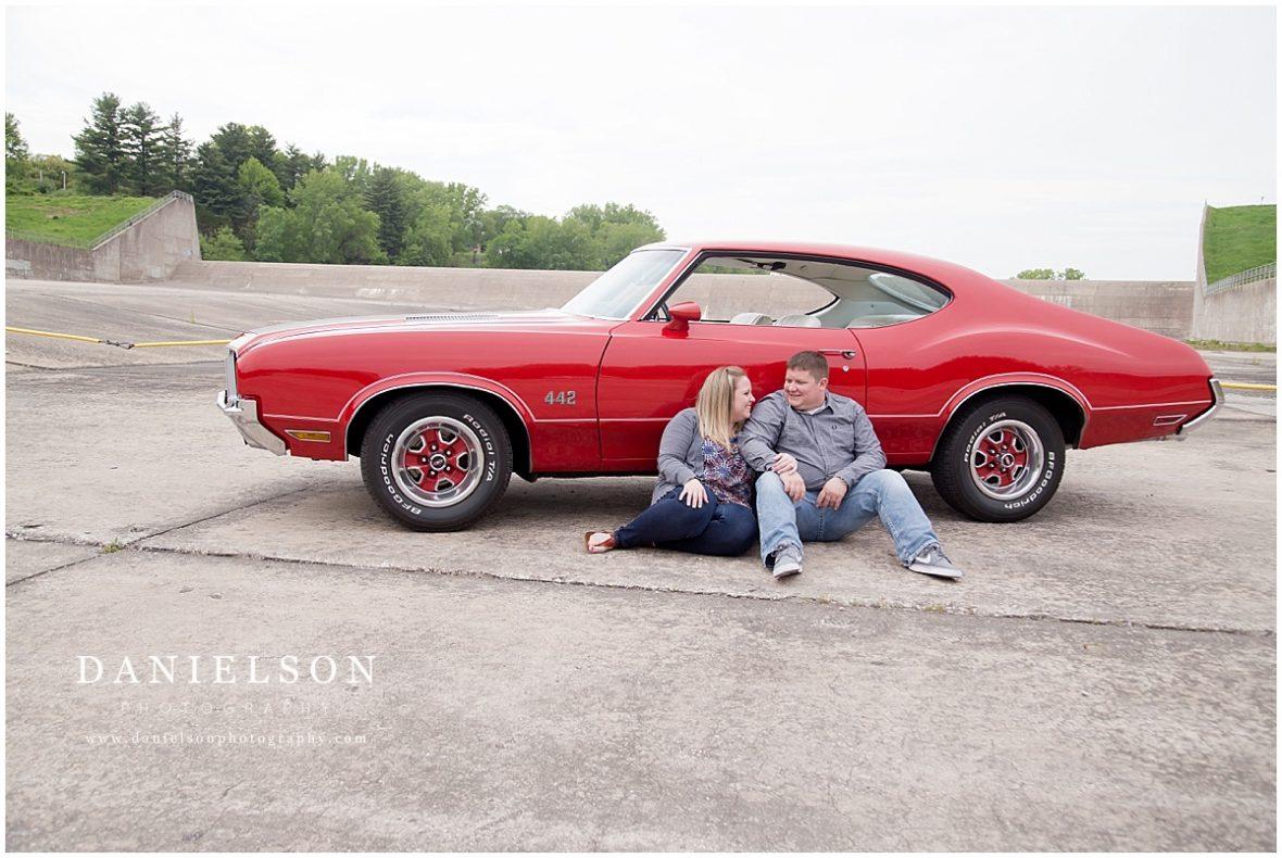 Classic Car Engagement Session, Kinnick Stadium Engagement, Iowa City Wedding Photographer, Danielson Photography