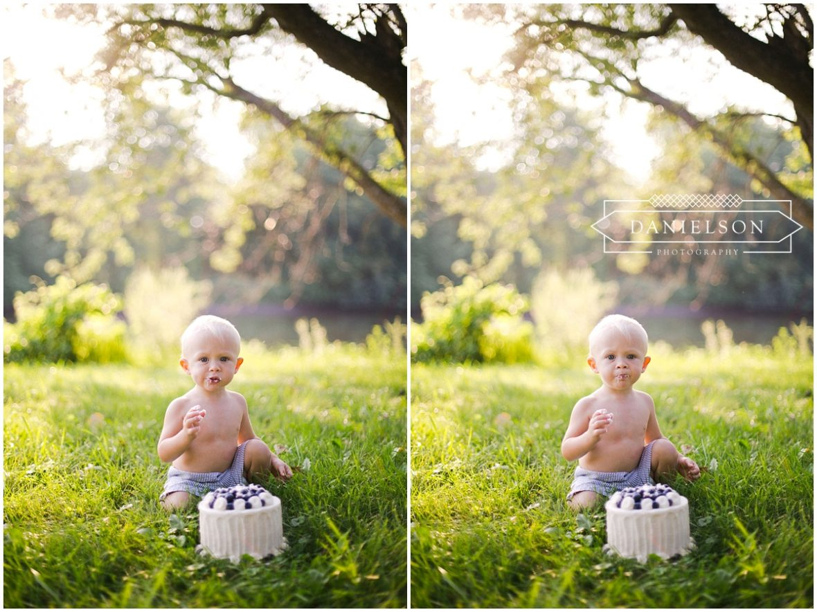 baby photographer Iowa, Iowa cake smash photographer, iowa city cake smash, blueberry smash cake, baby photographer Iowa City, family photographer Iowa City, outdoor cake smash
