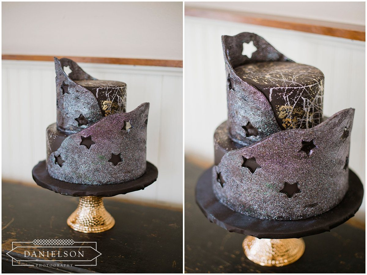 Tip Top Cakes, lunar inspired wedding, celestial theme wedding, star and moon wedding theme, crystal details wedding, witch wedding, Little Lights Events, black candle centerpieces, West Branch, Cedar Rapids weddings, Iowa City weddings, Cedar Rapids wedding photographer, Iowa City wedding photographer, Cedar Rapids wedding vendors