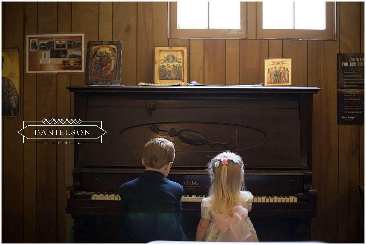 kids playing piano at St. Raphael Orthodox Church in Iowa City