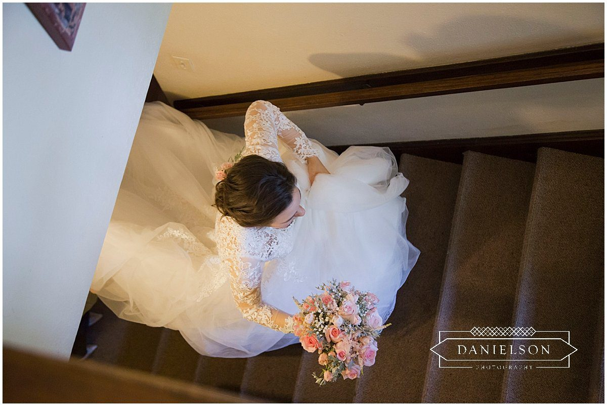 bride preparing to see groom before Orthodox wedding ceremony at St. Raphael Orthodox Church in Iowa City, Iowa CIty wedding vendors, Cedar Rapids wedding vendors
