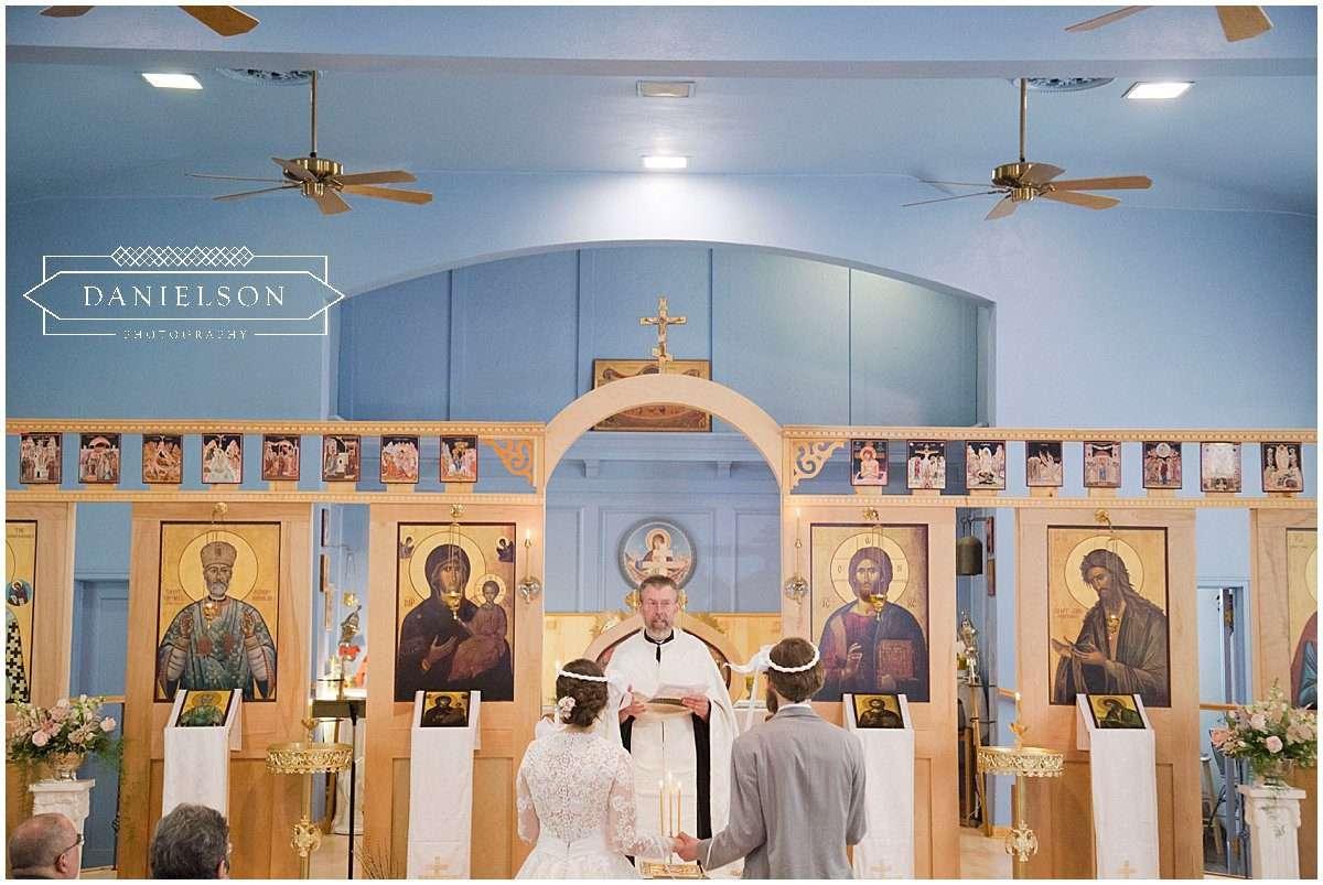 Orthodox wedding ceremony at St. Raphael Orthodox Church in Iowa City