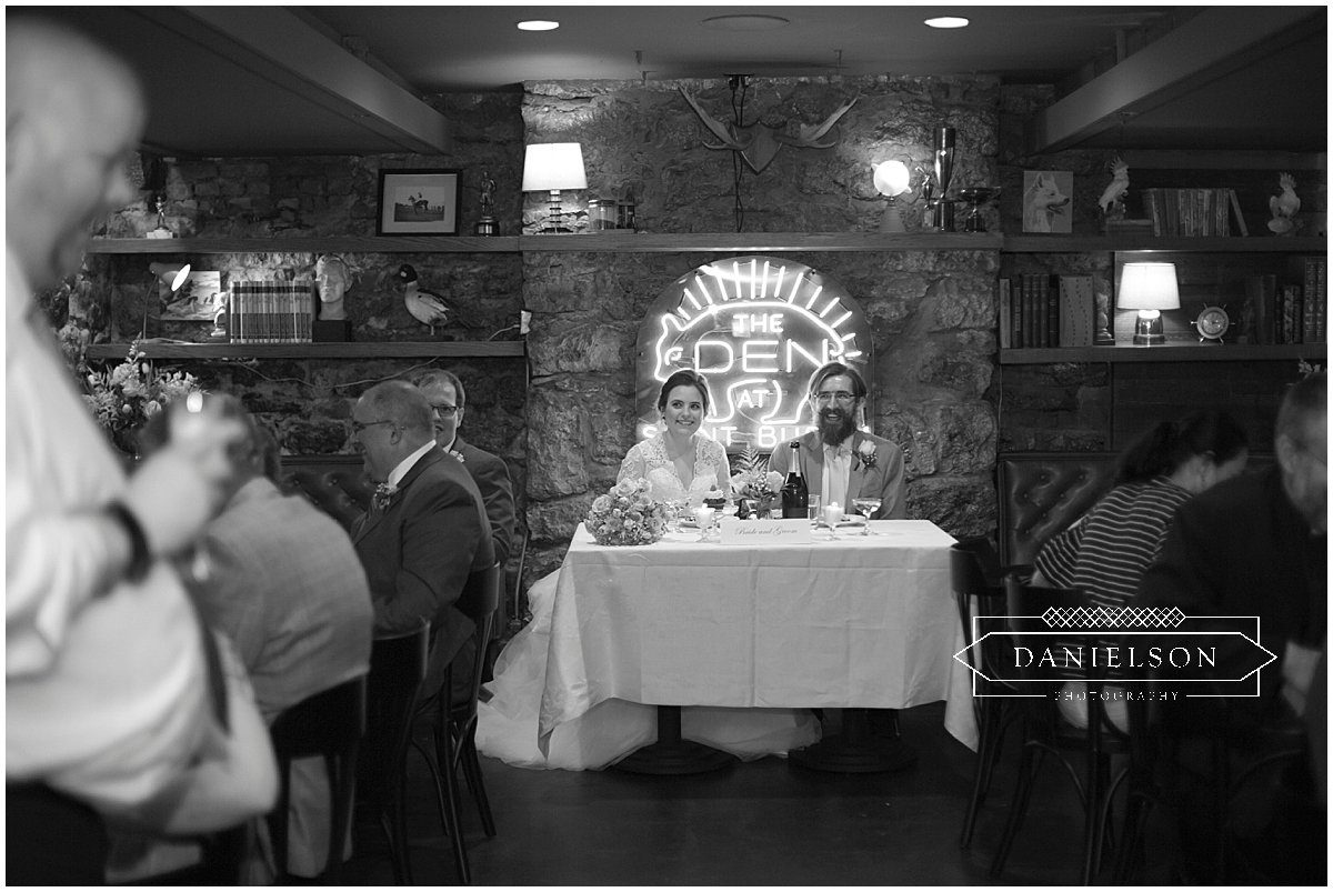 wedding guests downstairs at St. Burch Tavern in Downtown Iowa City