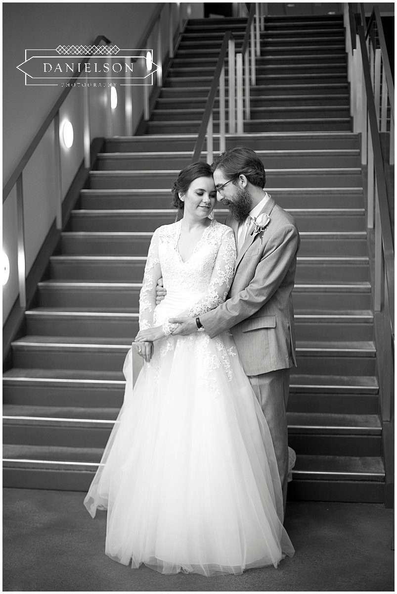 Bride and groom portraits in HotelVetro lobby, Iowa City wedding photographer