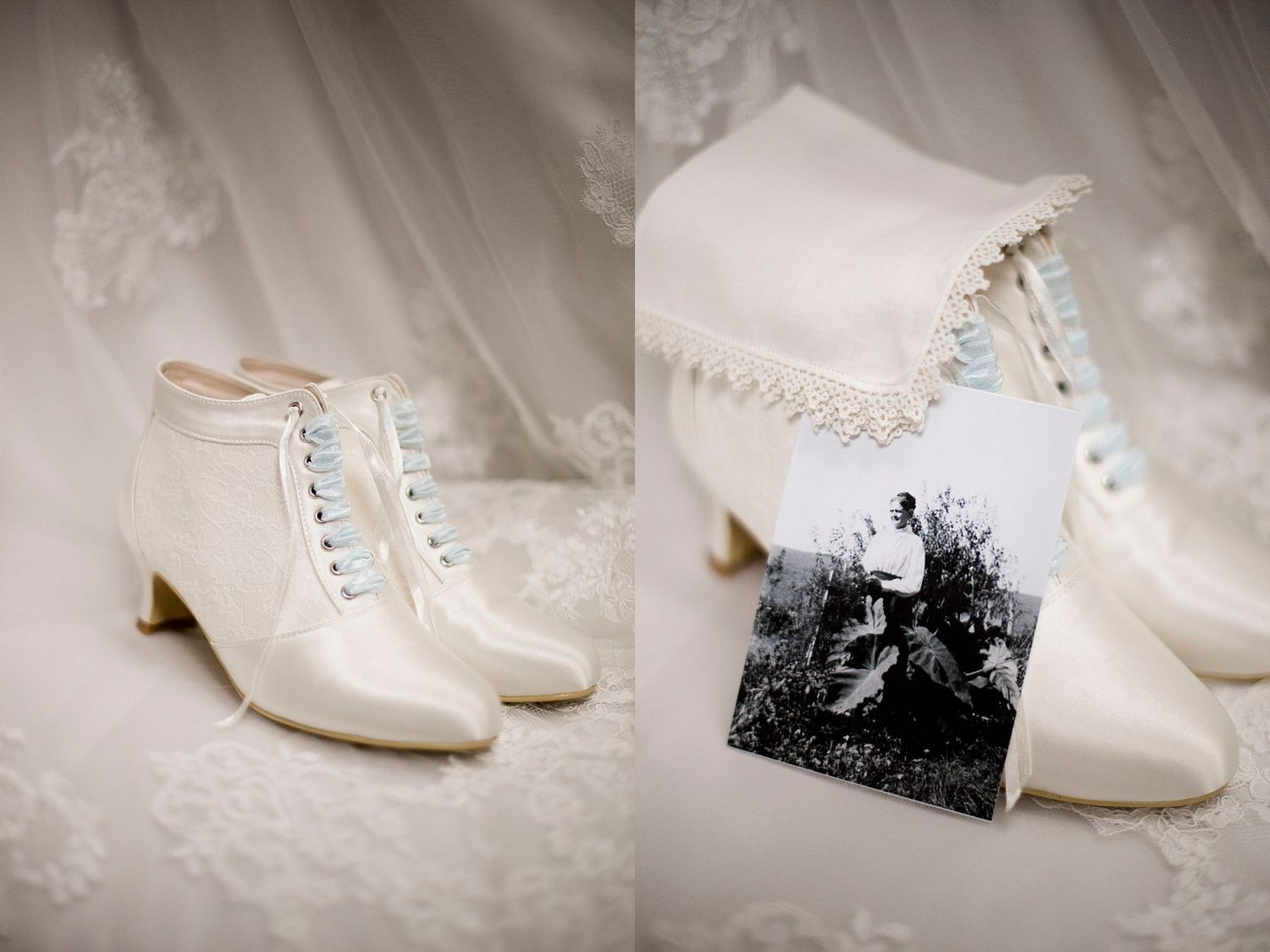 Bride's shoes resting on veil, with a photo of her grandmother with the handkerchief she inherited.