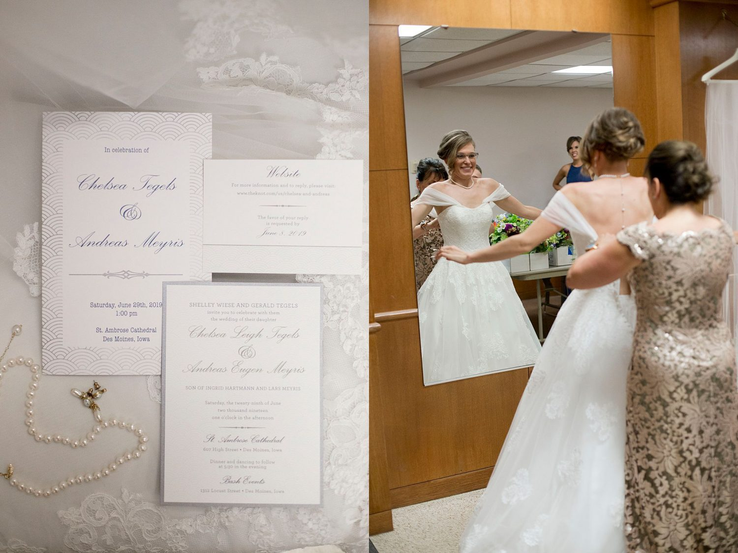 A closeup of the invitation suite and the bride smiling as her mom helps button her wedding gown.