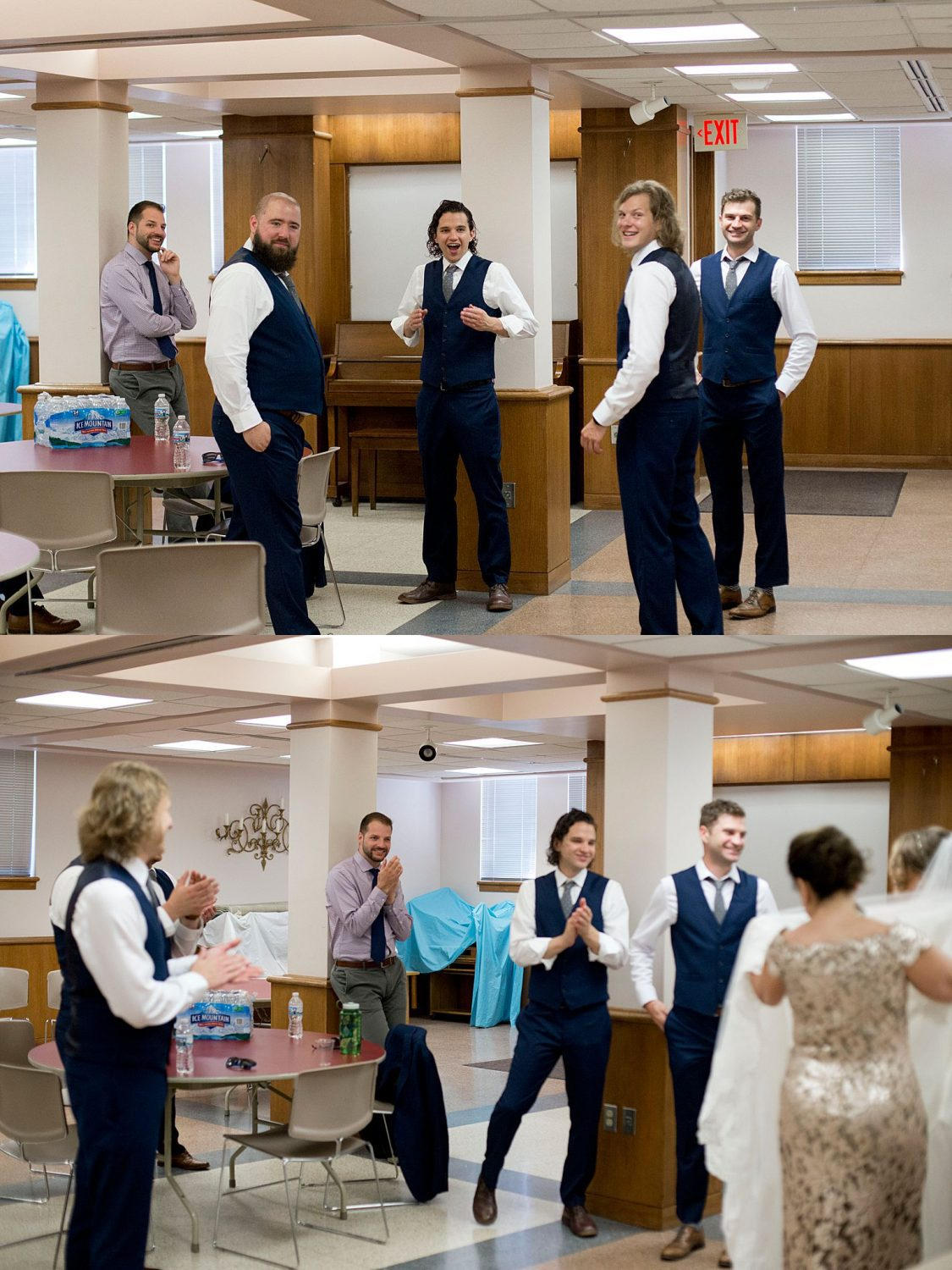 The groomsmen gasp and smile as they see the bride walk by for the first time.