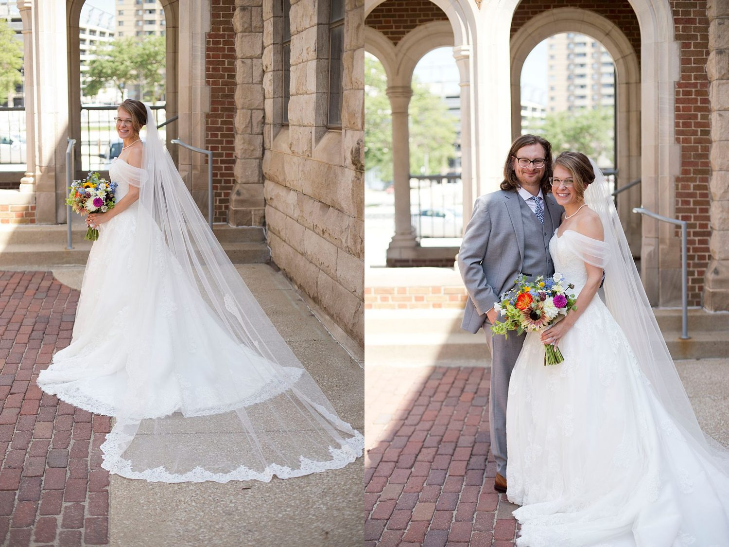 The bride poses in the courtyard of St Ambrose Cathedral in Des Moines.
