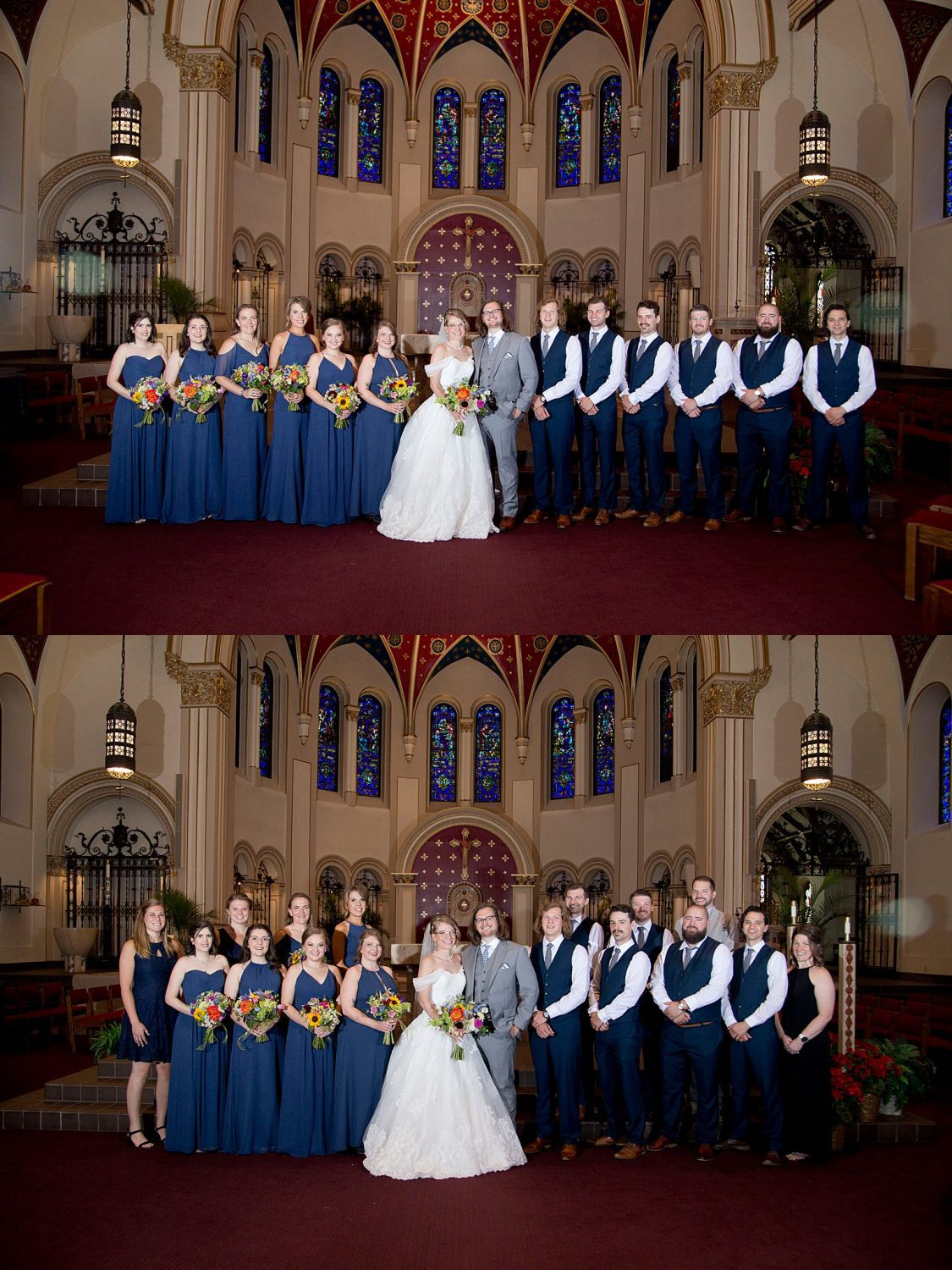 The wedding party stands for a formal portrait at the altar of St Ambrose Cathedral in Des Moines.