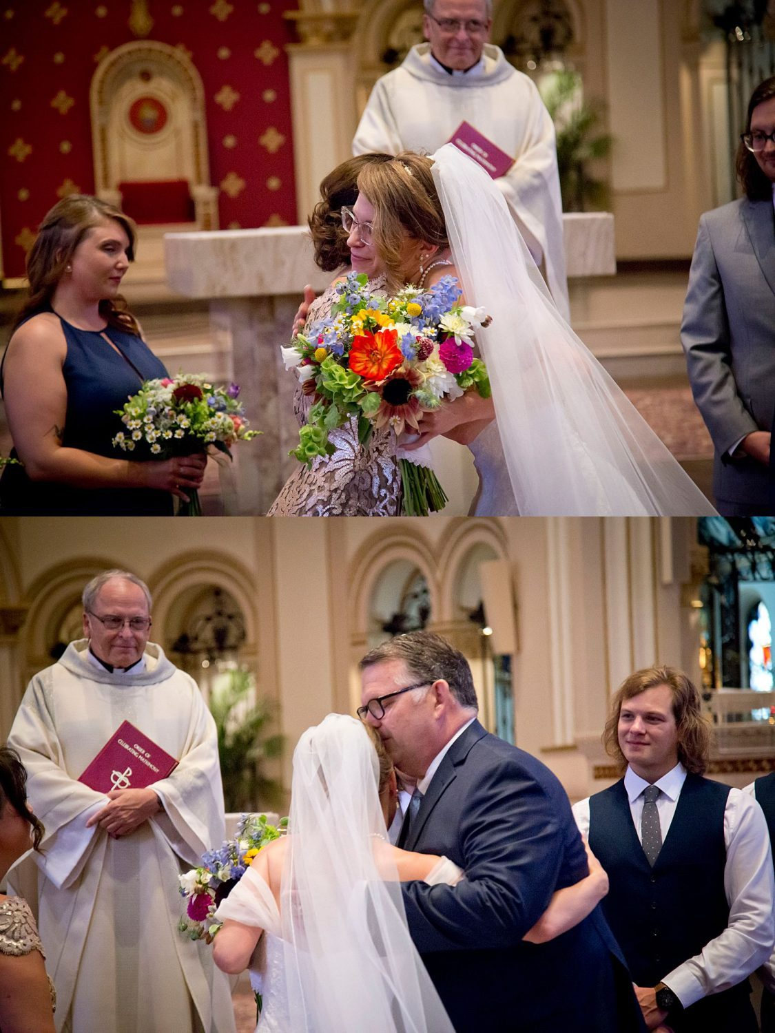 Bride gives her mother and father a final embrace before she exchanges vows with her husband.