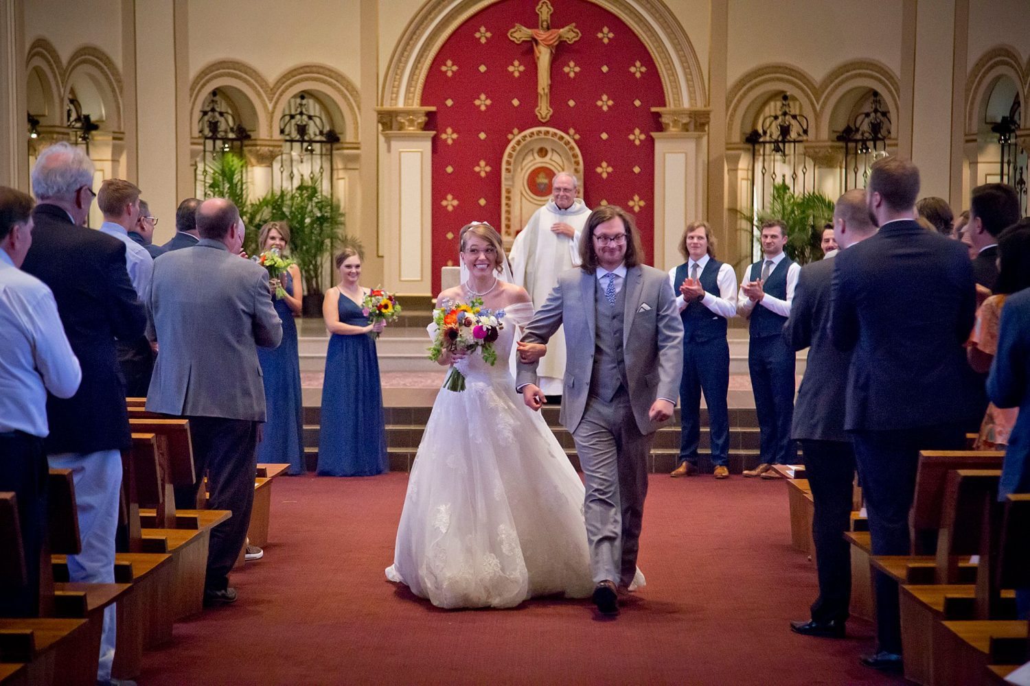 Wedding ceremony at St Ambrose Cathedral in Des Moines.