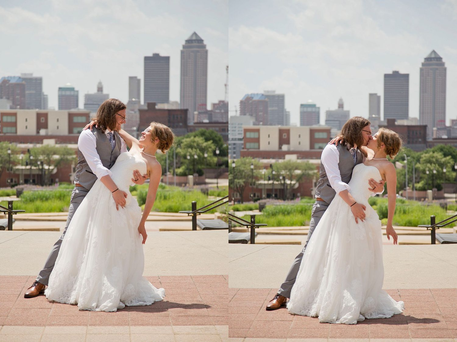 Bride and groom dipping back with the Des Moines skyline behind them.