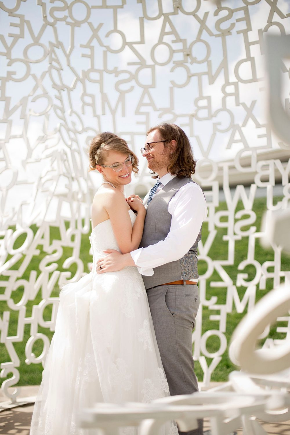 Portrait of bride and groom in a park