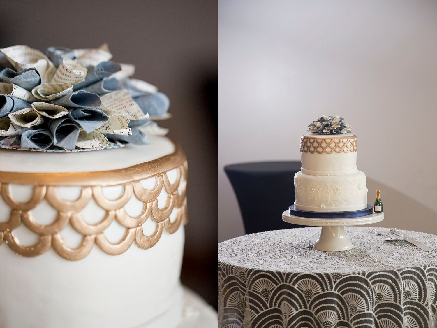 Photo of two tiered white cake with closeup of gold fondant scallop details and blue paper flowers.