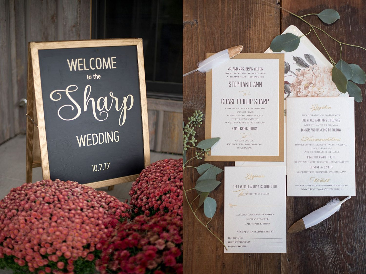 Chalkboard welcome sign with gold lettering, surrounded by burgundy mums and a flatlay of invitation sweet with greenery.