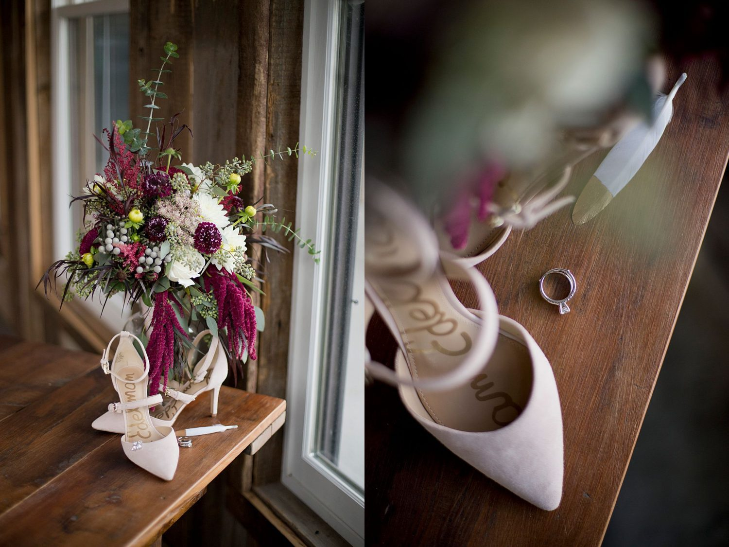 Photo of bridal bouquet full of burgundy and cream flowers and bride's dusty pink shoes. Close up of the bride's ring framed by her shoes and her bouquet.