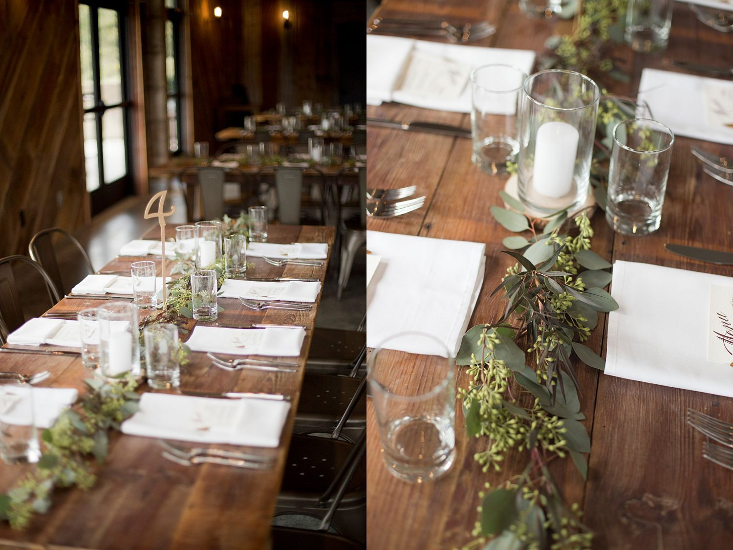 Close up details of the table decor, showing runners of eucalyptus and cloth white napkins at each place setting with a custom menu card.