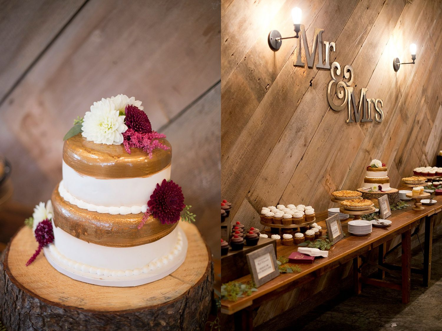 White wedding cake with gold icing accents and burgundy flowers. A wider shot of the dessert table including apple pies and cupcakes.