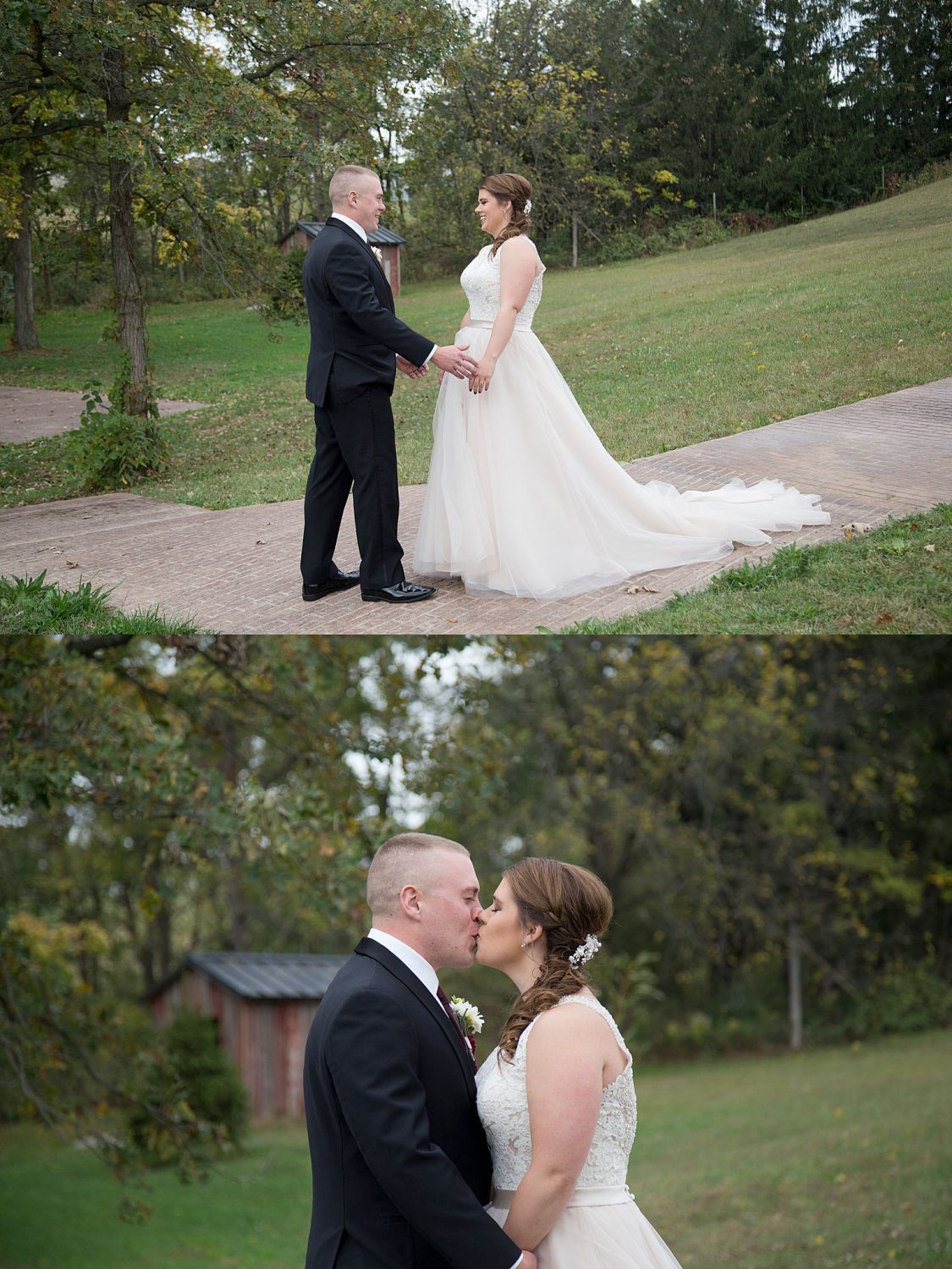 The bride and groom embrace after seeing each other for the first time.