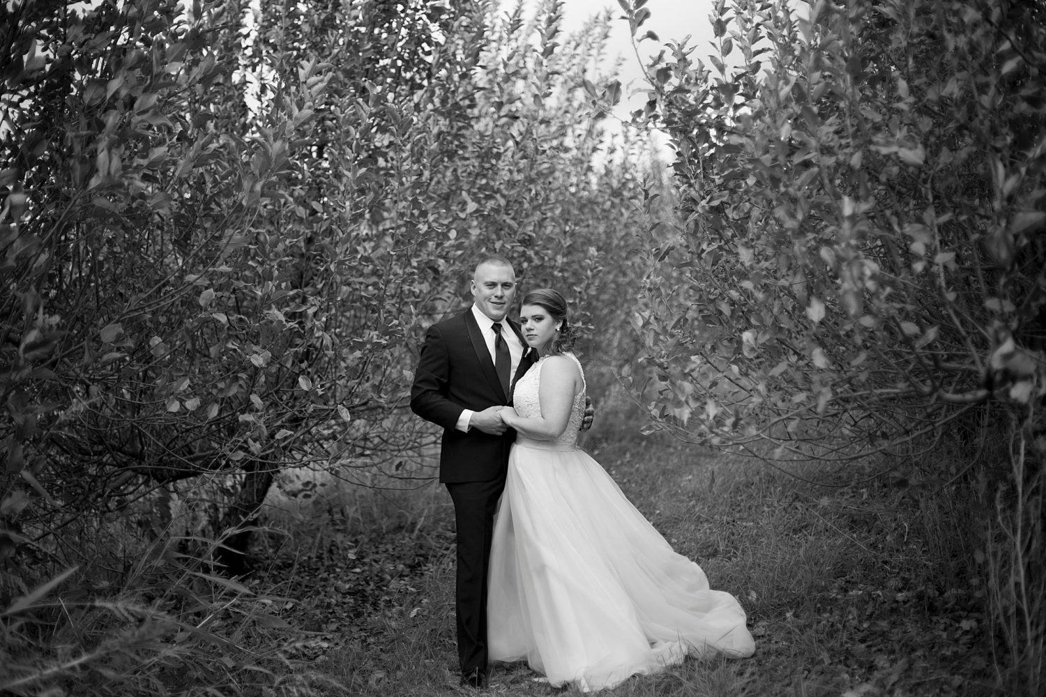 black and white image of the couple standing among apple trees in the orchard, holding hands.
