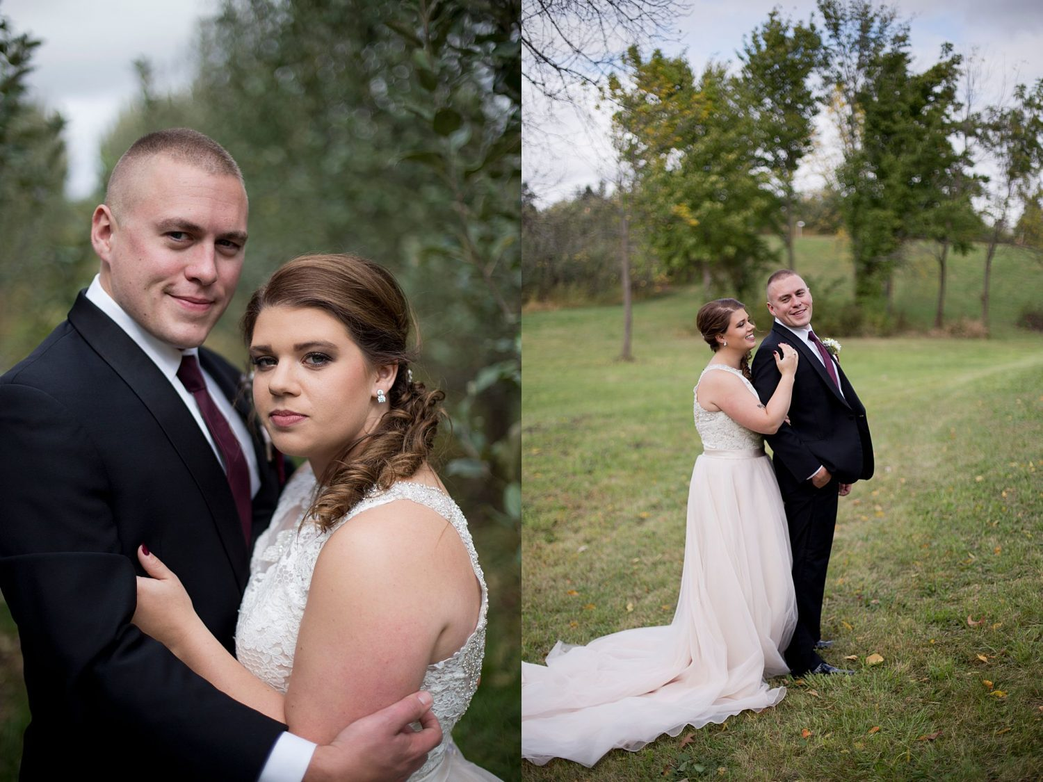 bride and groom posing together in the apple orchard