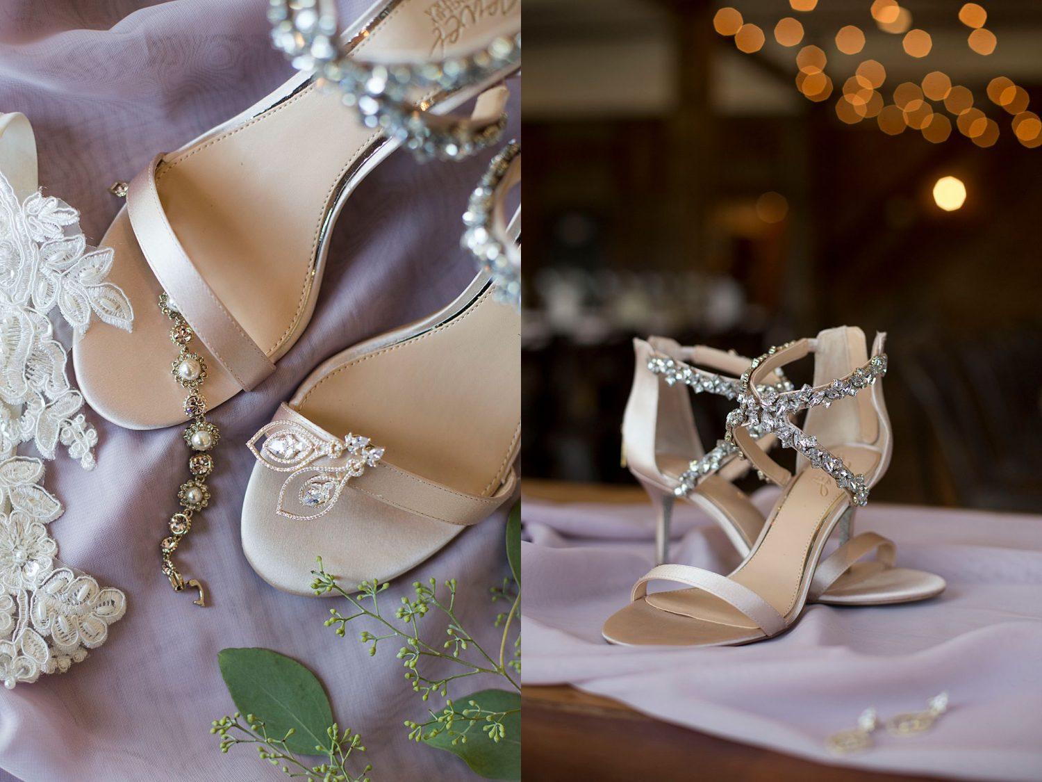 close up of bridal shoes and jewelry at Rapid Creek Cidery