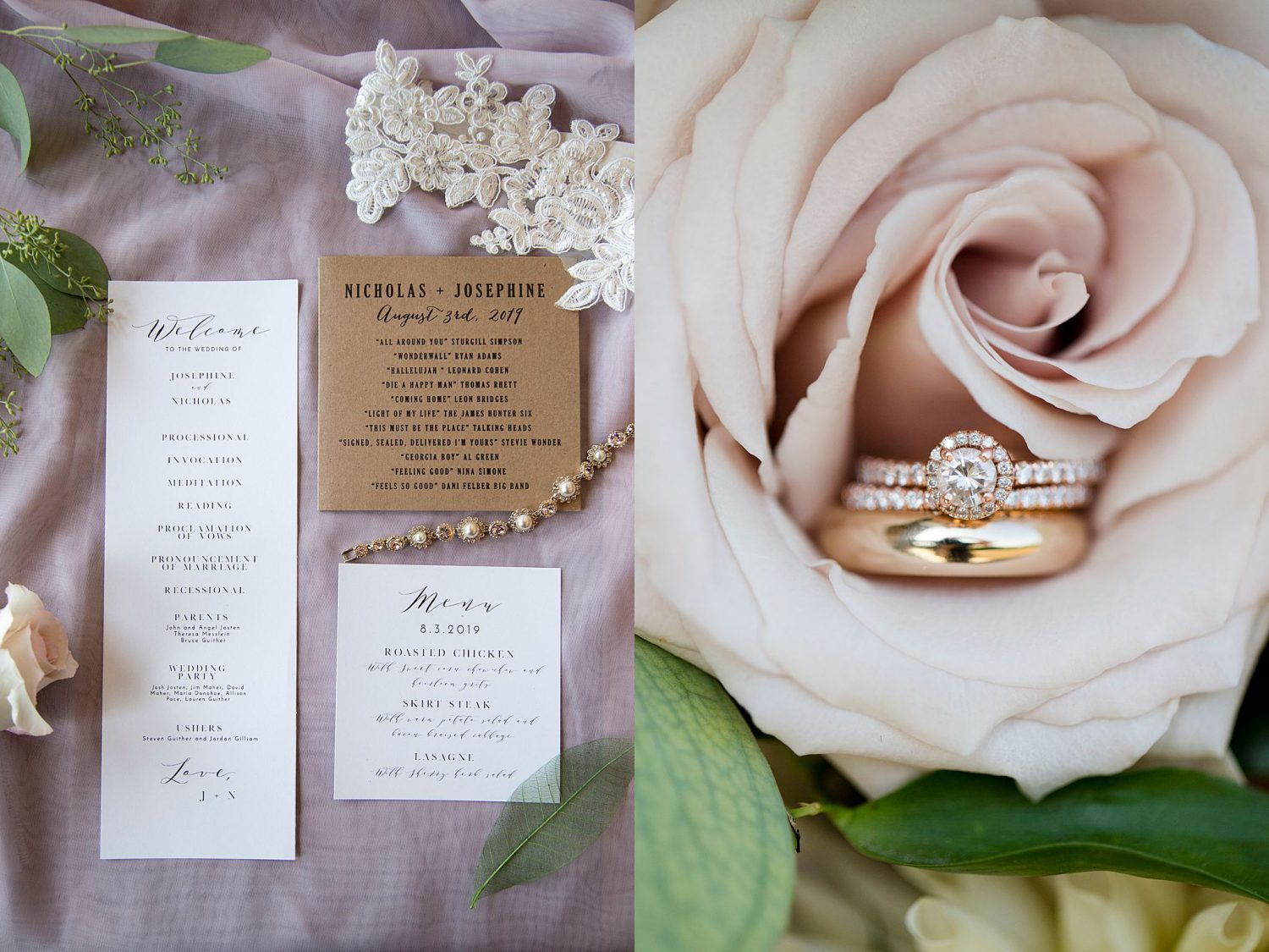 close up of invitation sweet and wedding rings inside a rose