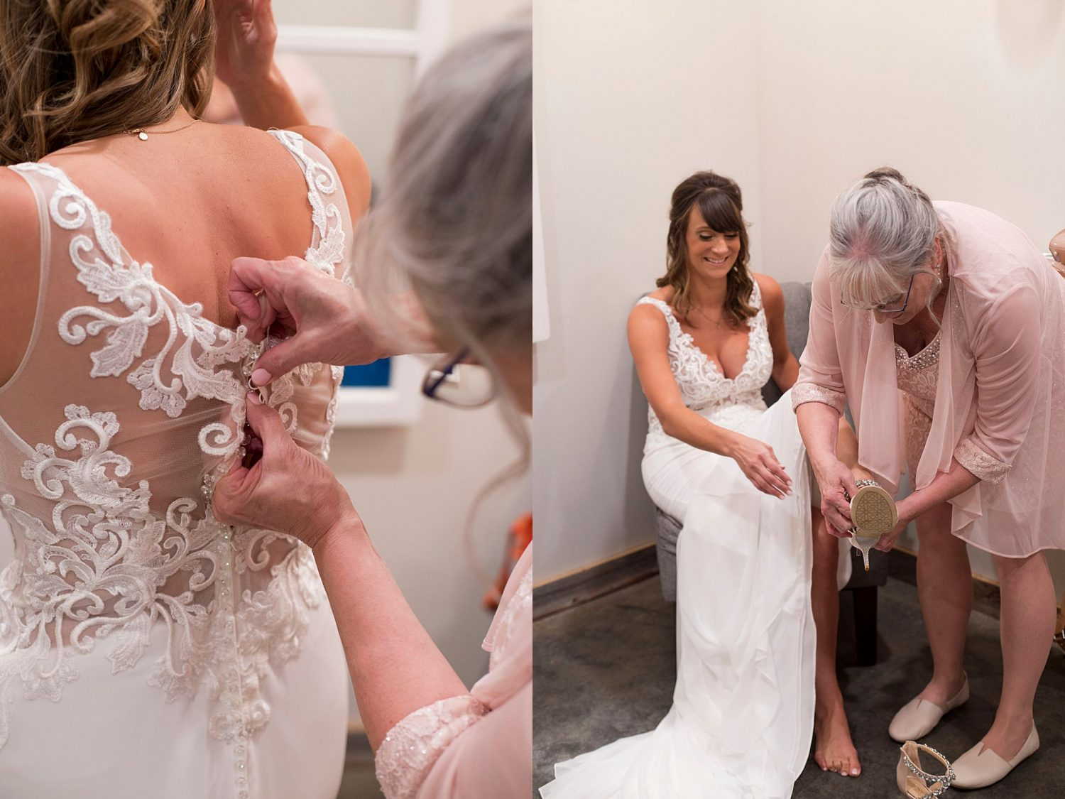 A mother buttons her daughter's wedding gown and assists her with putting on her shoes in the bridal suite of Rapid Creek Cidery