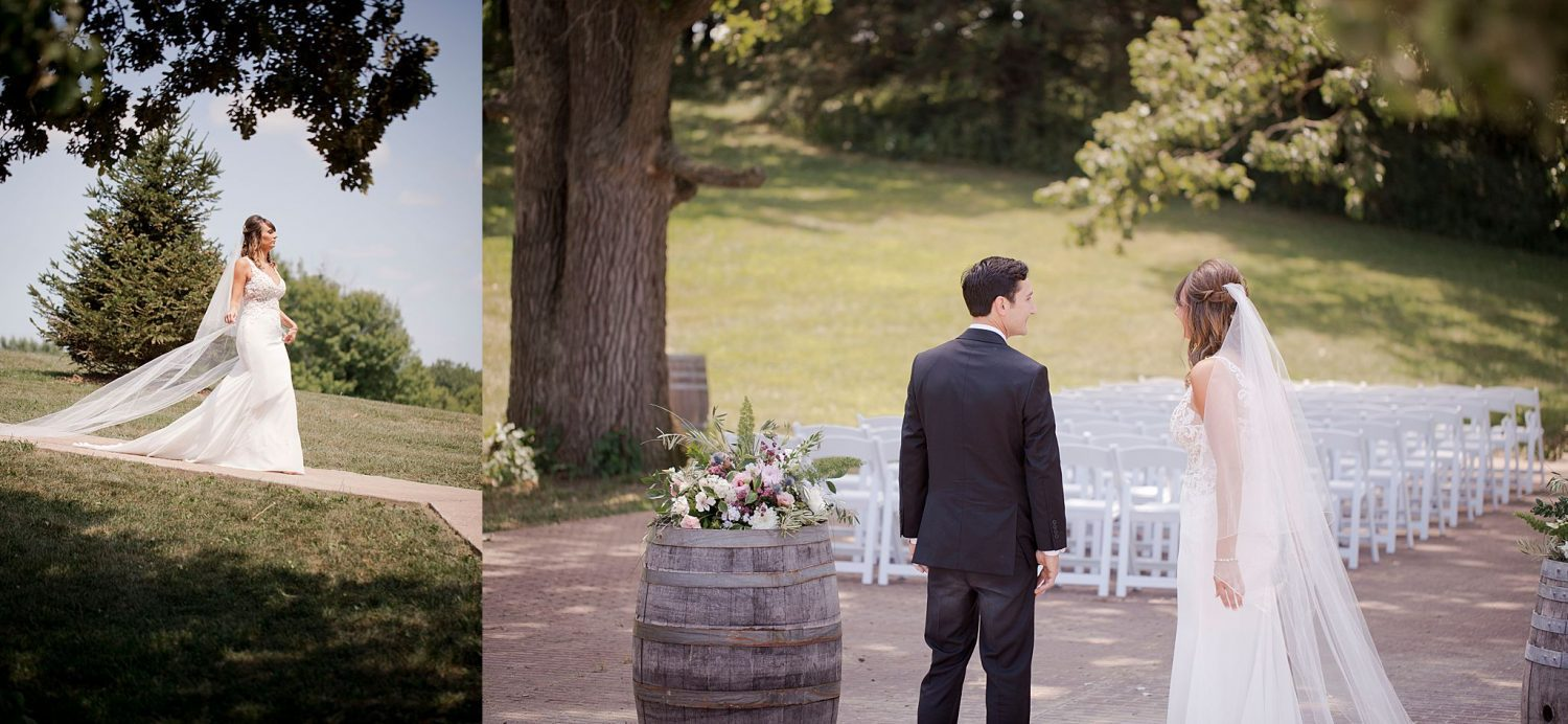Groom turns to see his bride for the first time at Rapid Creek Cidery.