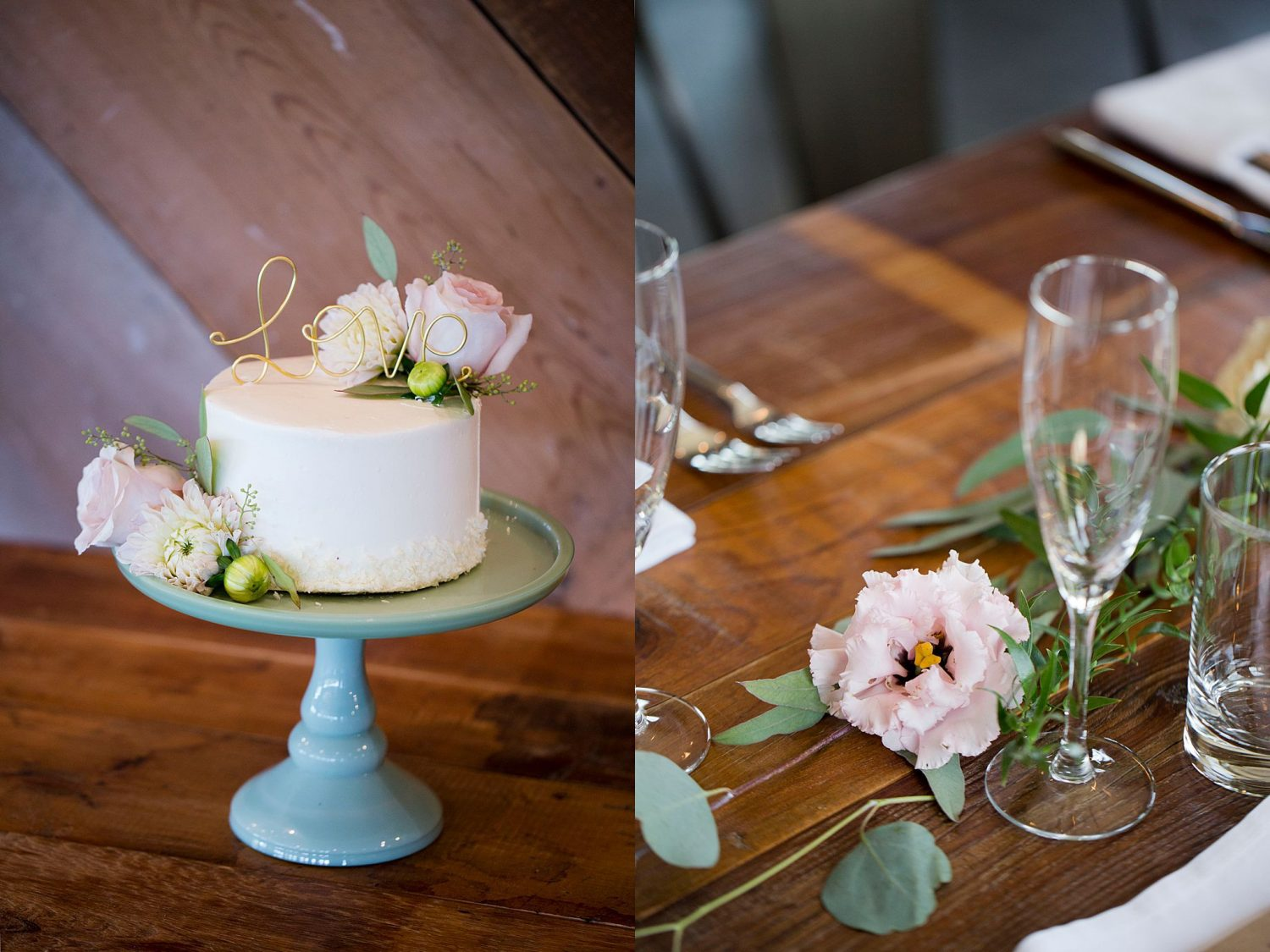 "A simple white wedding cake on turquoise cake stand with delicate pink flowers. A cursive metal ""love"" sign sits on top."