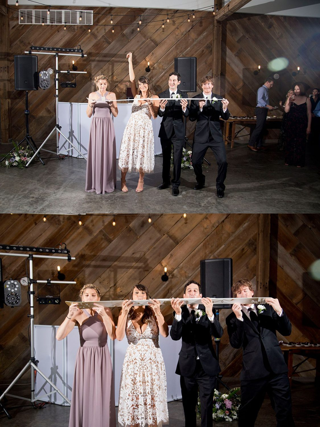 "Bride and Groom with their best man and bridesmaid demonstrate the ""shotski"" at their wedding reception at Rapid Creek Cidery."