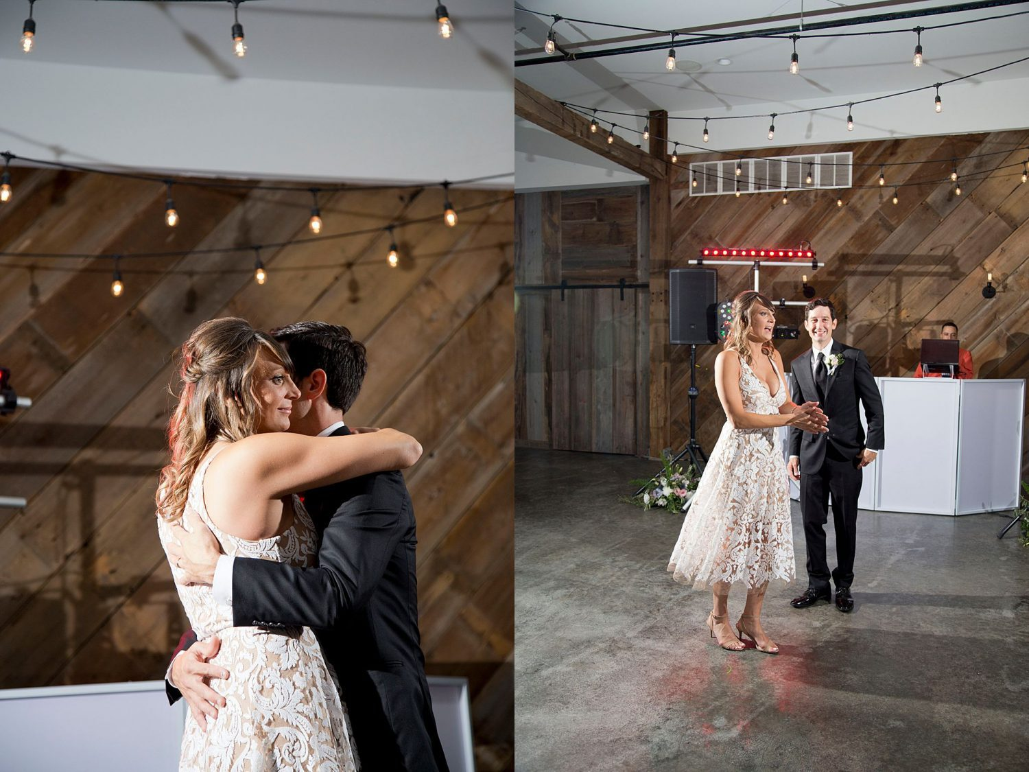 Bride and groom dancing with their guests at their wedding reception at Rapid Creek Cidery.