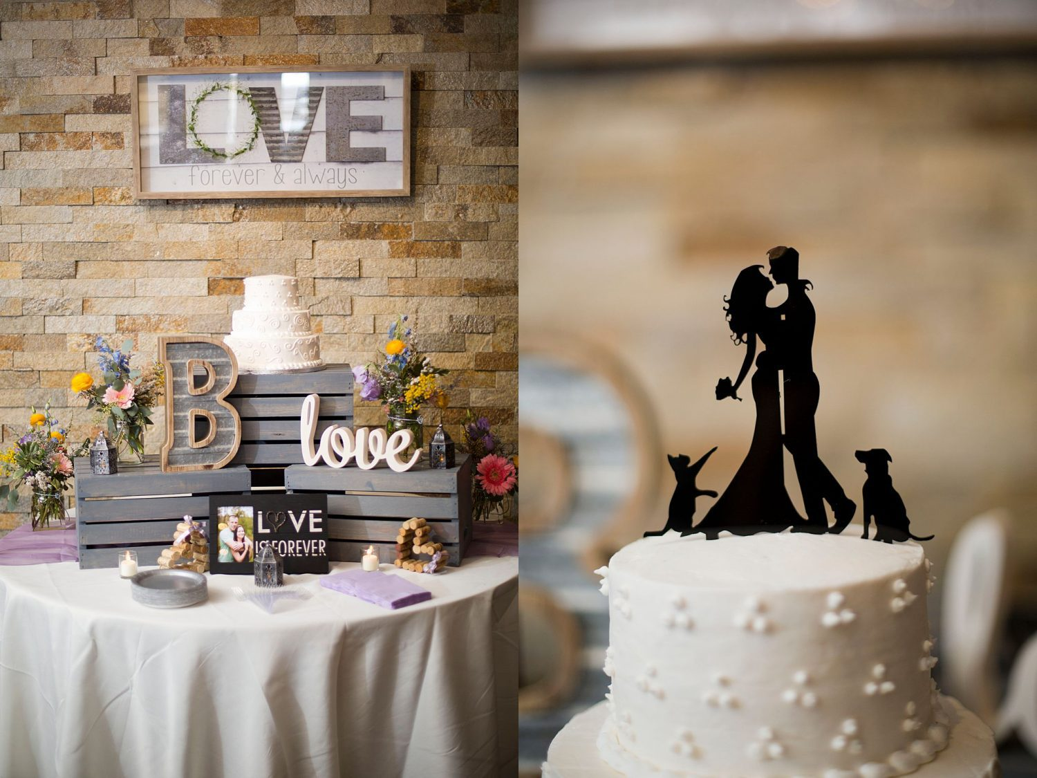 Cake table with closeup of cake topper