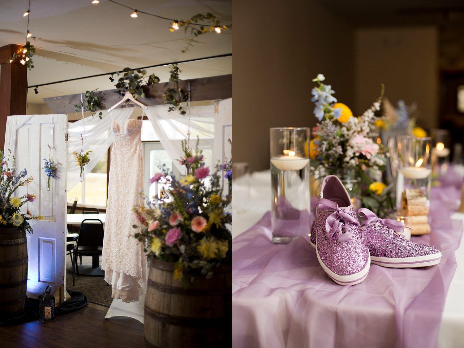 Interior of Lake Macbride golf course decorated for a wedding ceremony with bridal gown hanging up and closeup of sparkly wedding tennis shoes for the bride.
