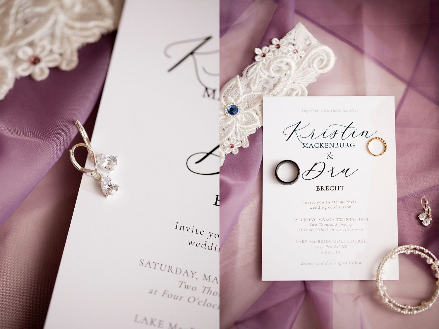 Closeup of wedding stationery and jewelry.