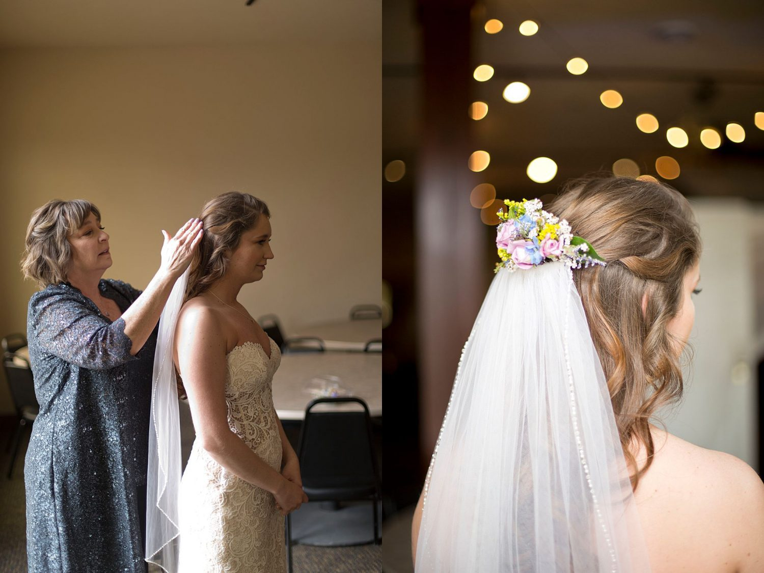 Mom putting the bride's veil in as they stand by a window.