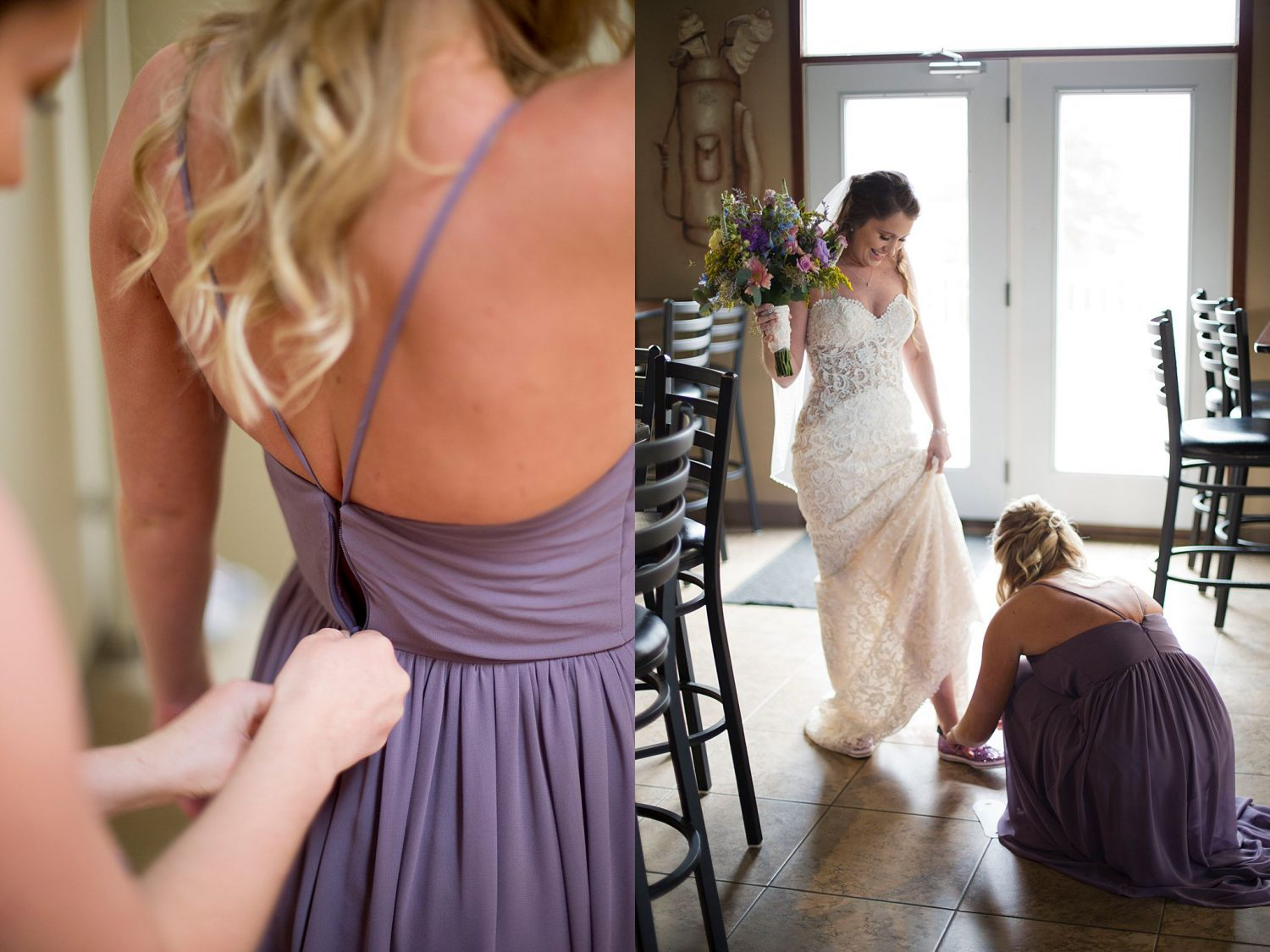The bride and her bridesmaid help each other get ready.