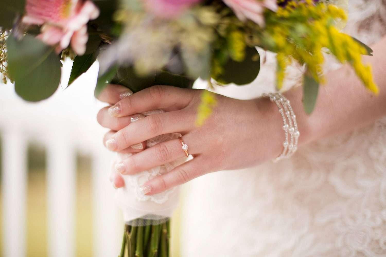 Closeup of bride's hands on her bouquet.