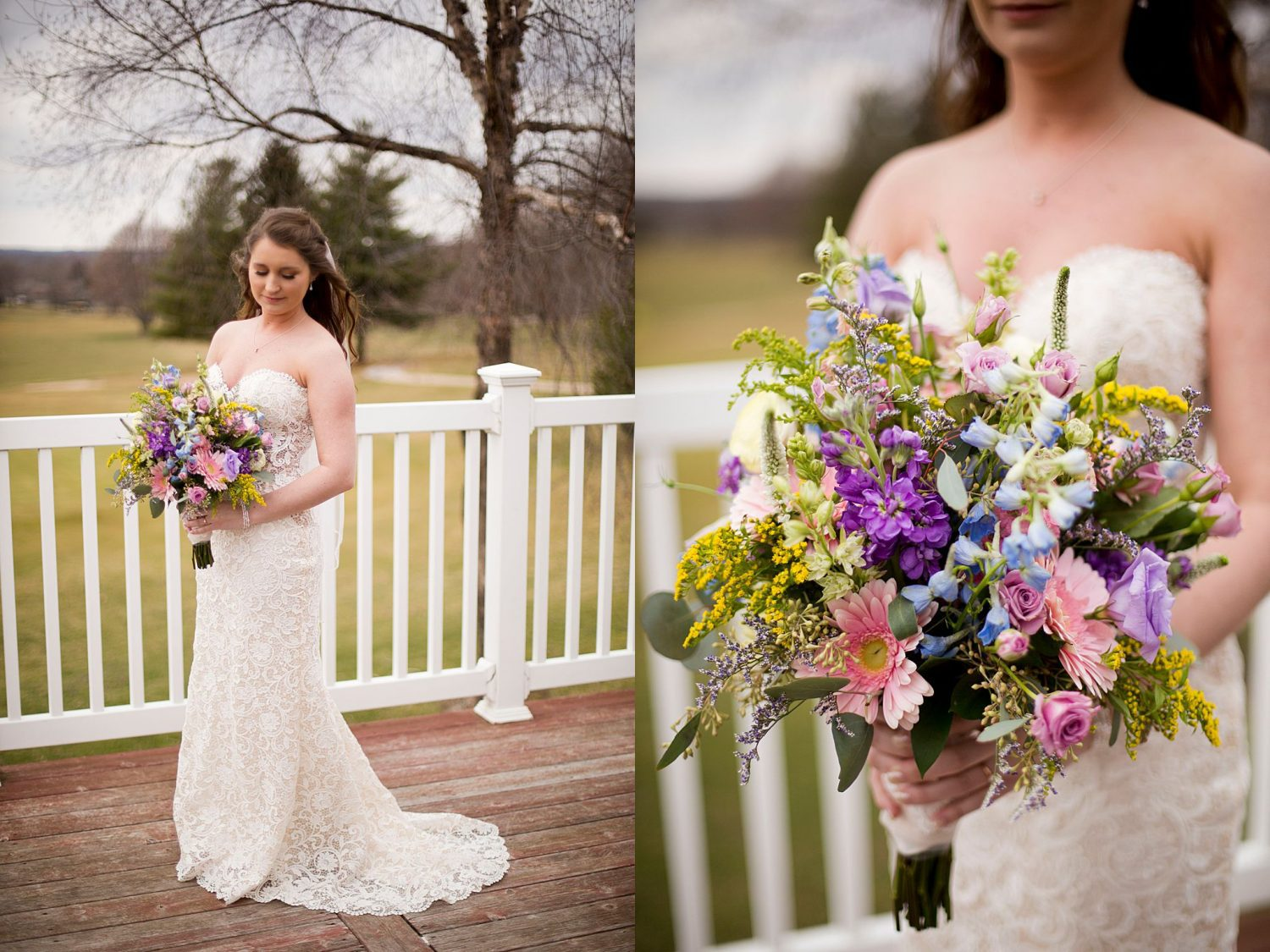 A bridal portrait on the balcony of Lake Macbride Golf Course, with a closeup of her bouquet.