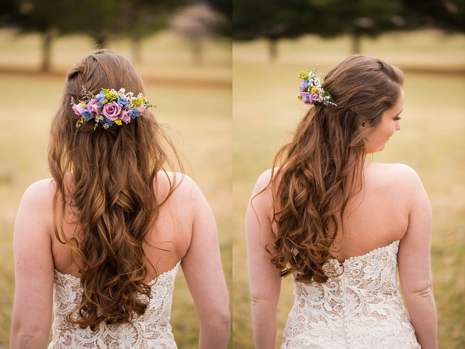 View of bride's hair and back of her dress.