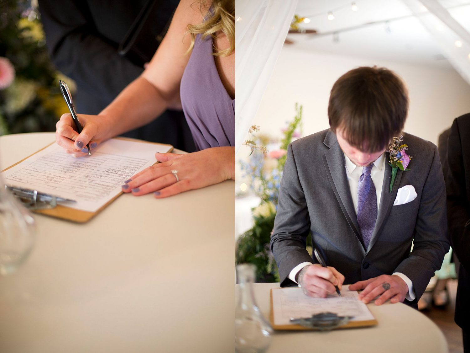 Best man and maid of honor signing the marriage certificate.