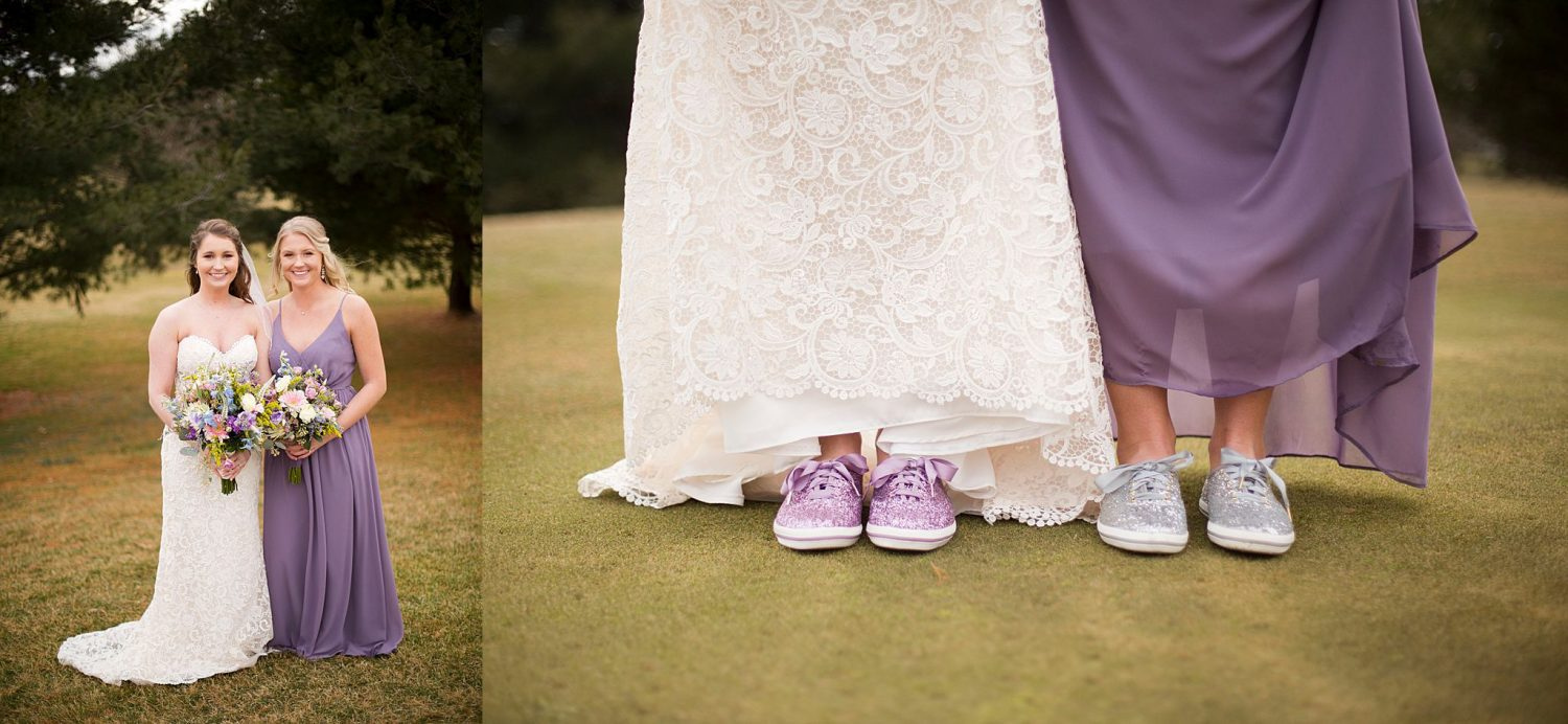 Formal portraits on the golf course of bride and maid of honor. Close up of their sparkly tennis shoes.