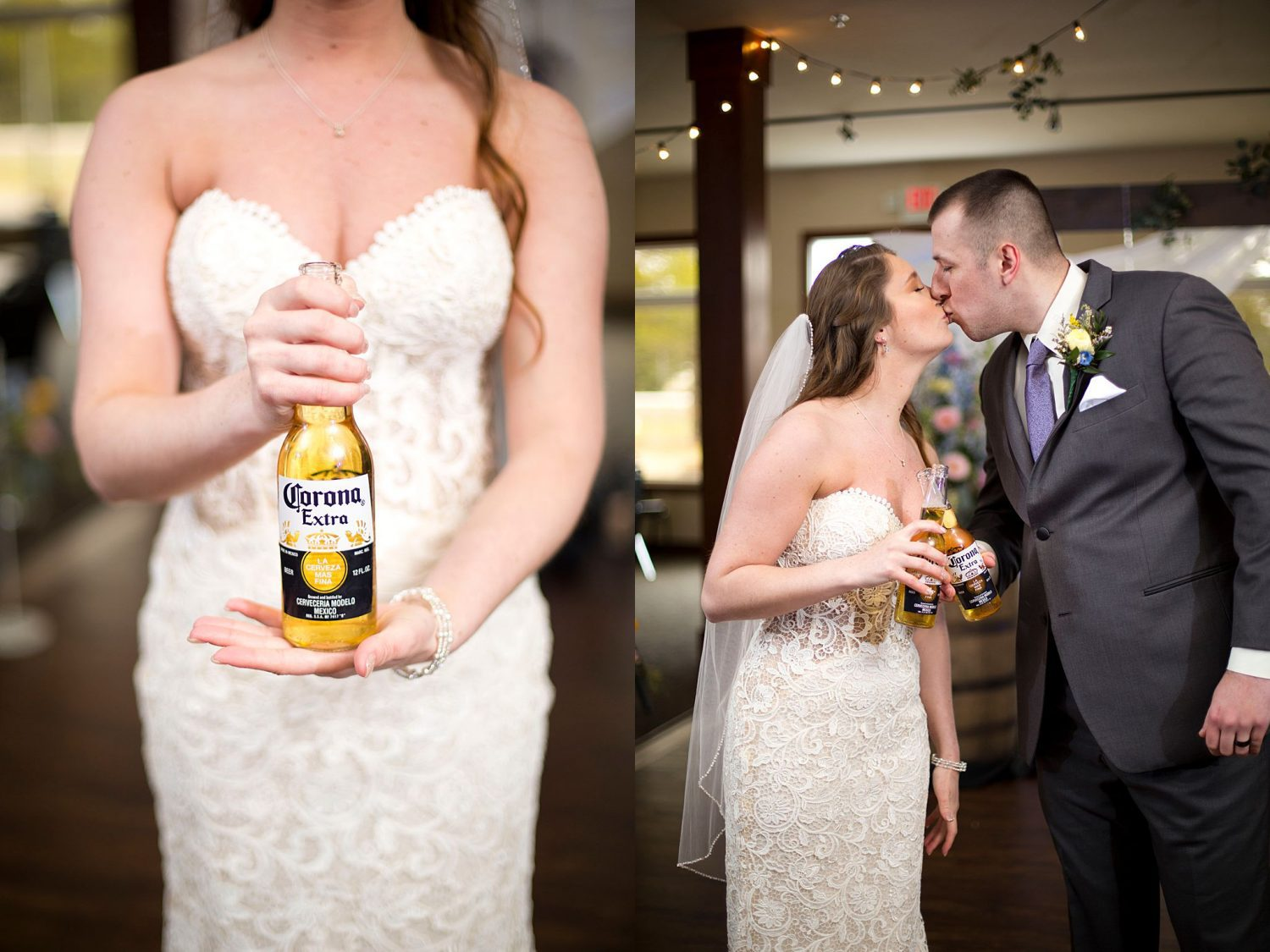 The bride holding a corona bottle, and the couple kissing as they cheers with Corona bottles.