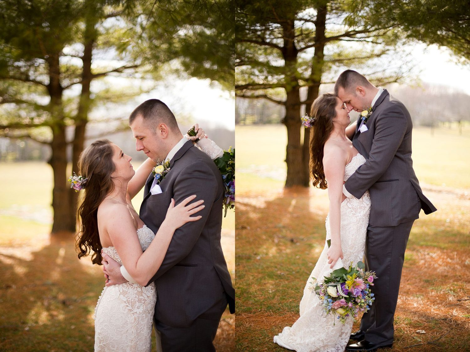 Bride and groom pose under pine trees for romantic portraits.